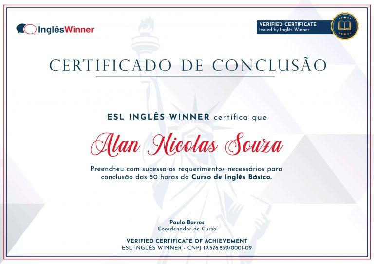 Certificado Winner
